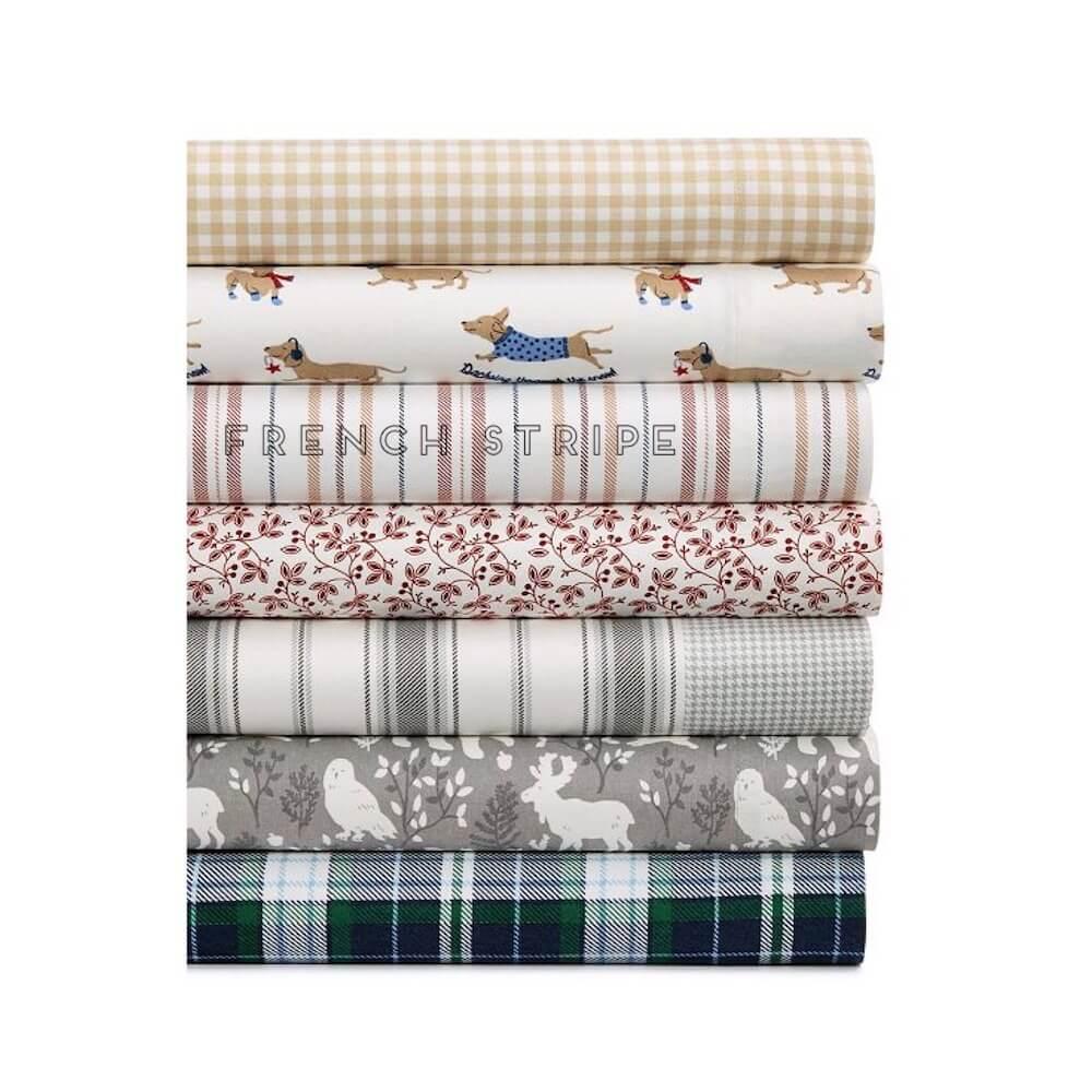 Martha Stewart Cotton Flannel French Stripe Queen Sheet Set