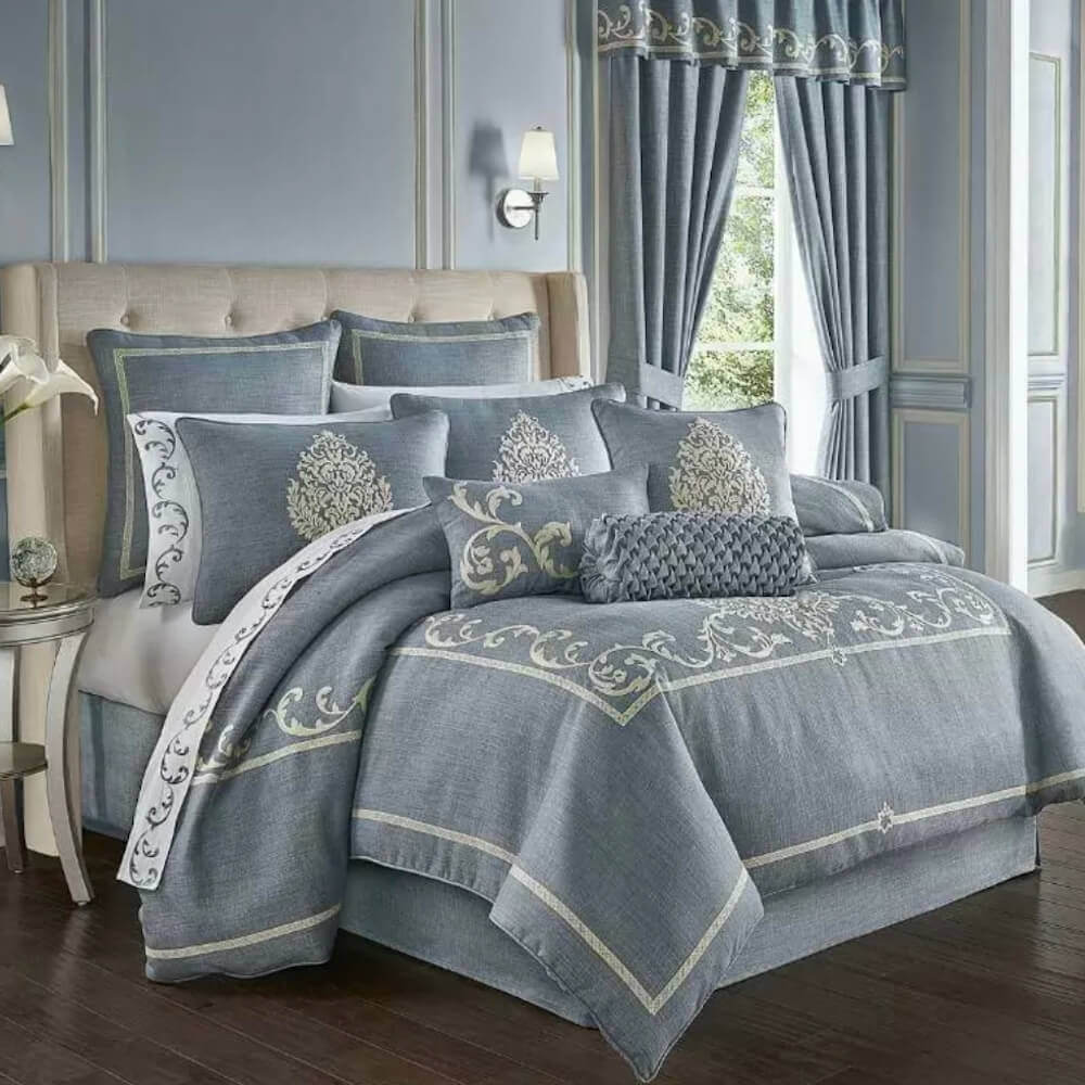 j queen new york aurora blue 4 piece king comforter set